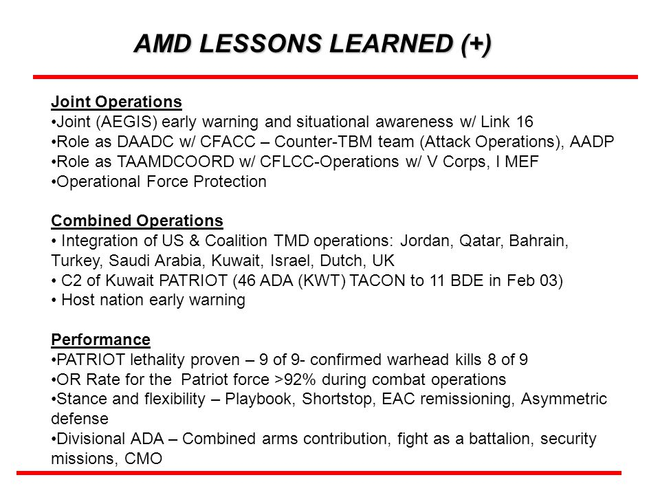 AMD LESSONS LEARNED (+)
