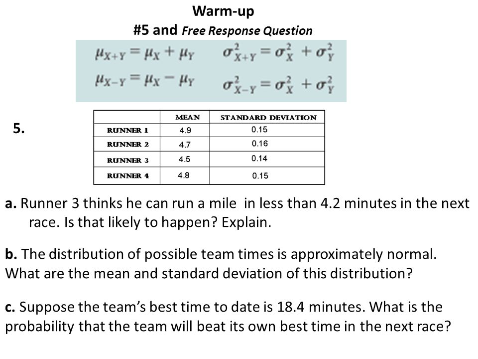 Warm-up #5 and Free Response Question