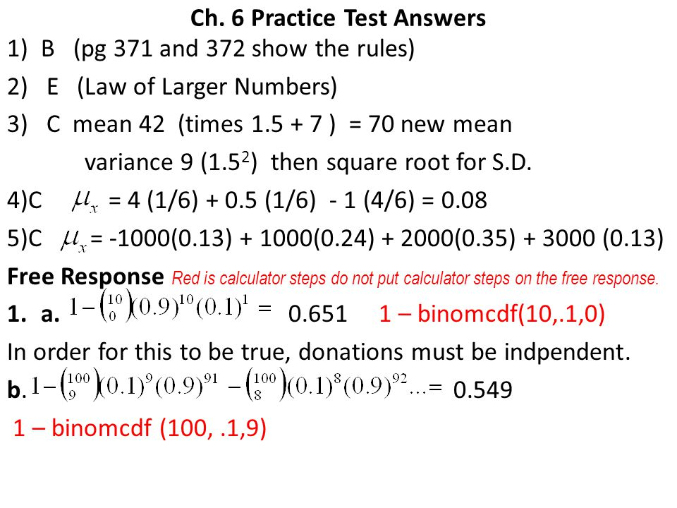 Ch. 6 Practice Test Answers