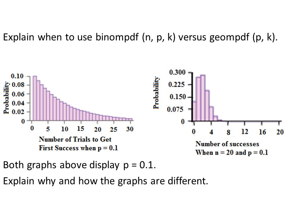 Explain when to use binompdf (n, p, k) versus geompdf (p, k)