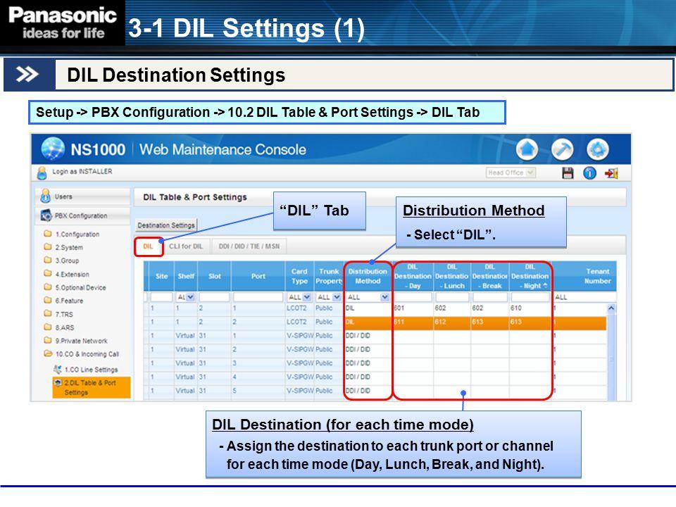 3-1 DIL Settings (1) DIL Destination Settings DIL Tab