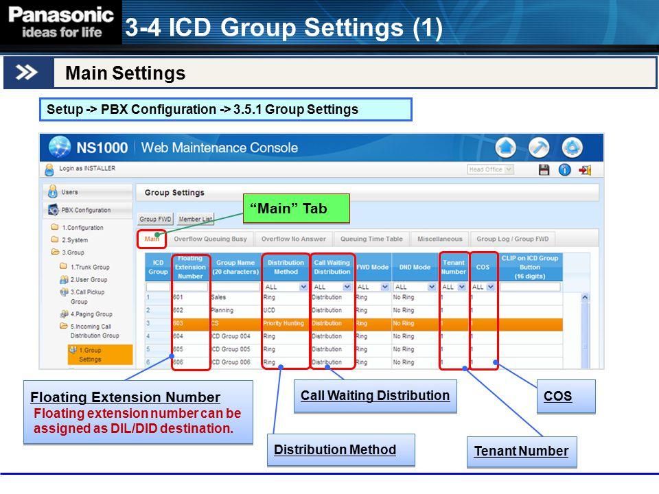 3-4 ICD Group Settings (1) Main Settings Main Tab