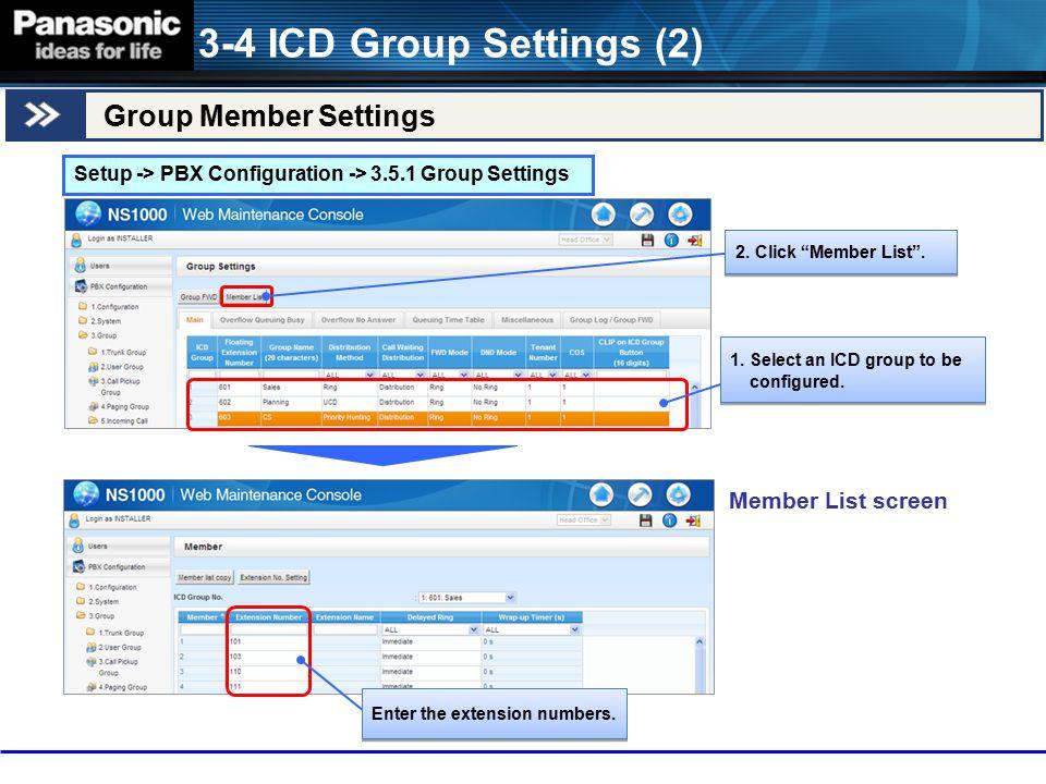 3-4 ICD Group Settings (2) Group Member Settings Member List screen