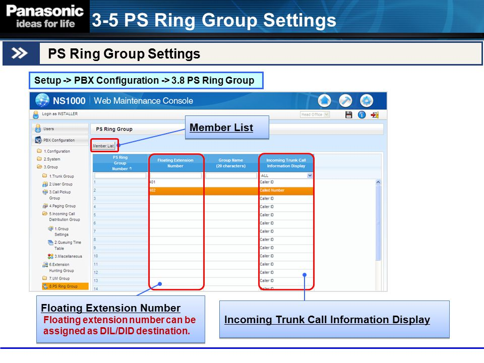 3-5 PS Ring Group Settings