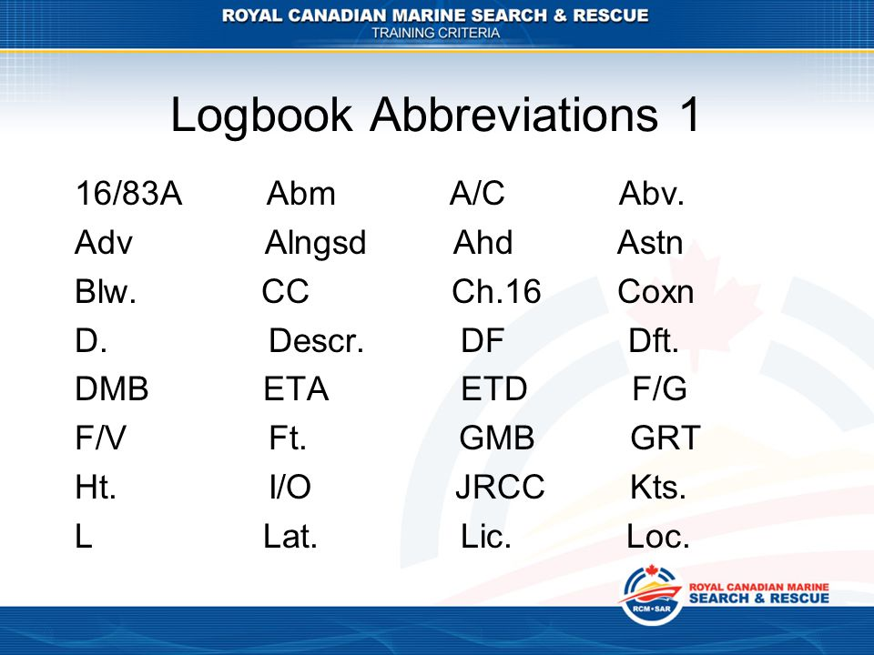 Logbook Abbreviations 1