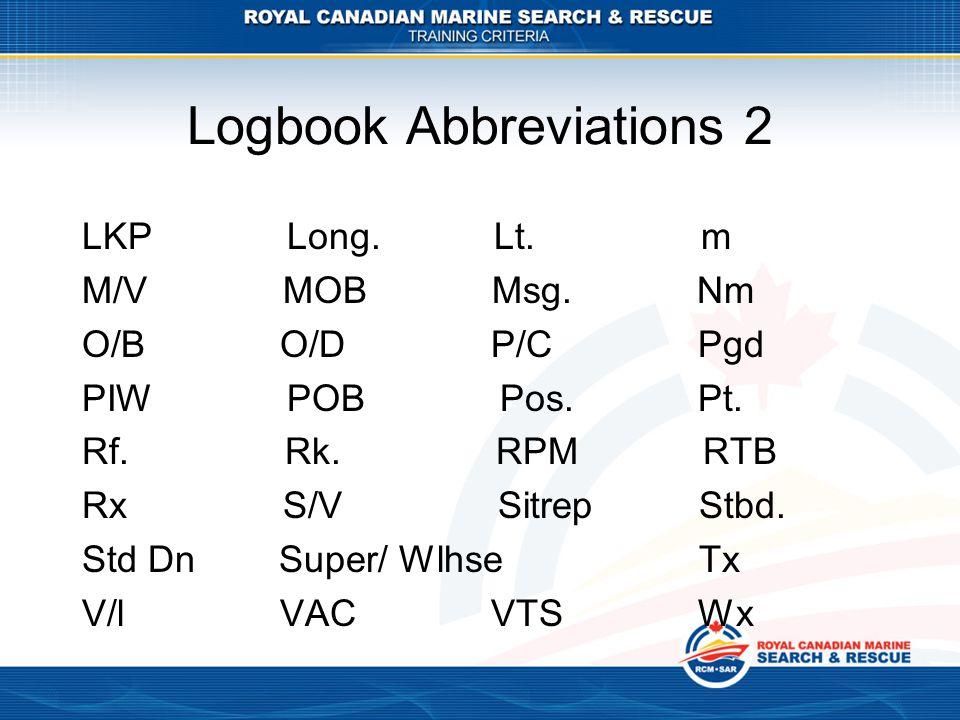 Logbook Abbreviations 2