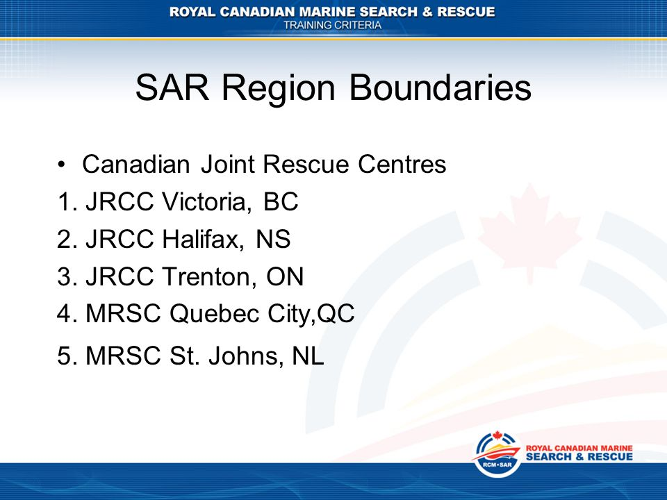SAR Region Boundaries Canadian Joint Rescue Centres