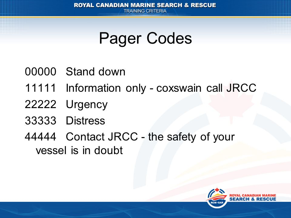 Pager Codes 00000 Stand down. 11111 Information only - coxswain call JRCC. 22222 Urgency. 33333 Distress.