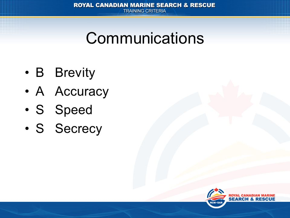Communications B Brevity A Accuracy S Speed S Secrecy