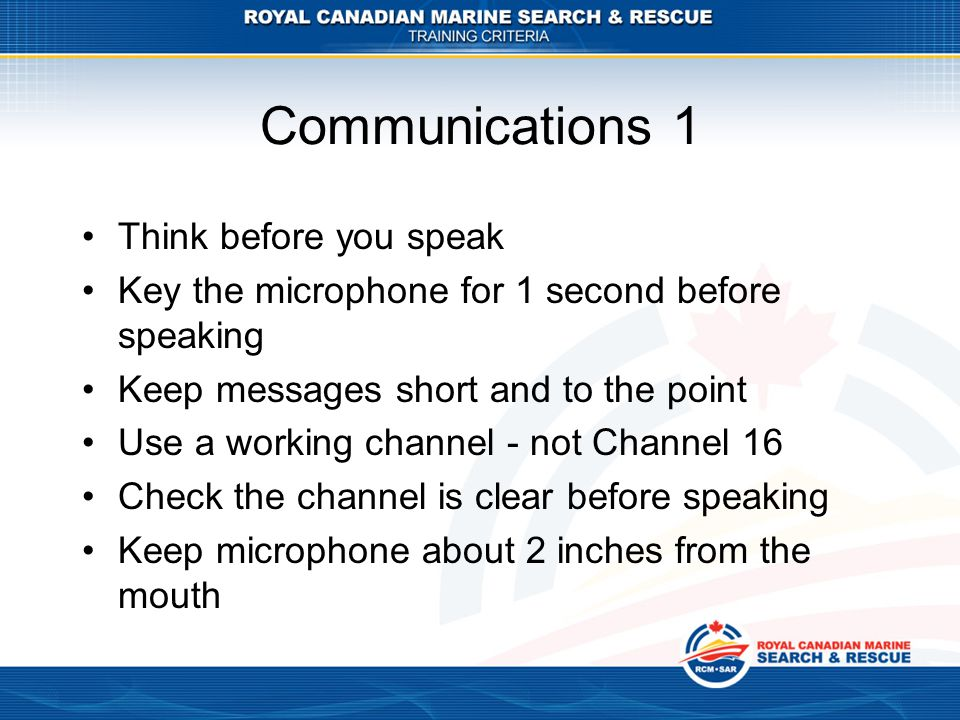 Communications 1 Think before you speak