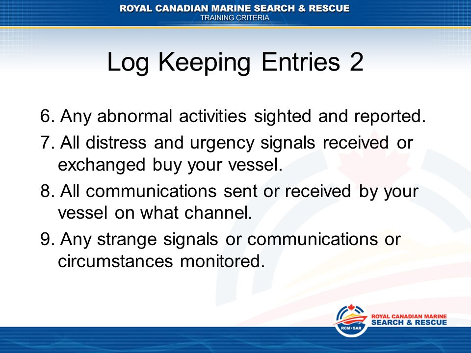 Log Keeping Entries 2 6. Any abnormal activities sighted and reported.