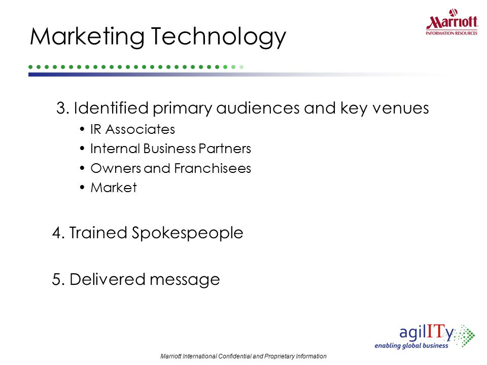 Marketing Technology 3. Identified primary audiences and key venues