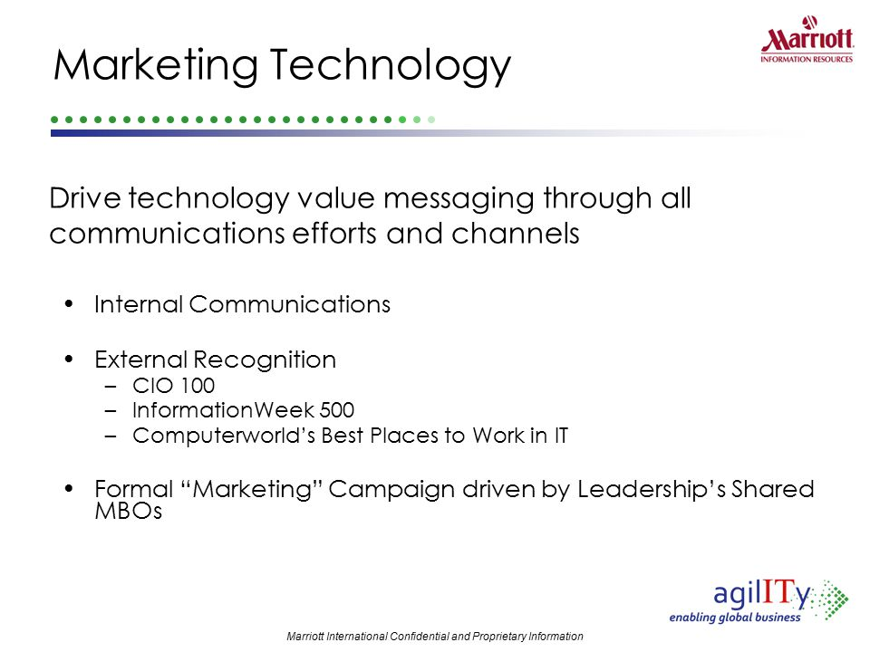 Marketing Technology Drive technology value messaging through all communications efforts and channels.