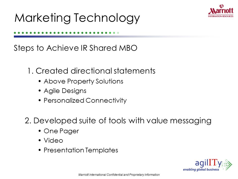 Marketing Technology Steps to Achieve IR Shared MBO