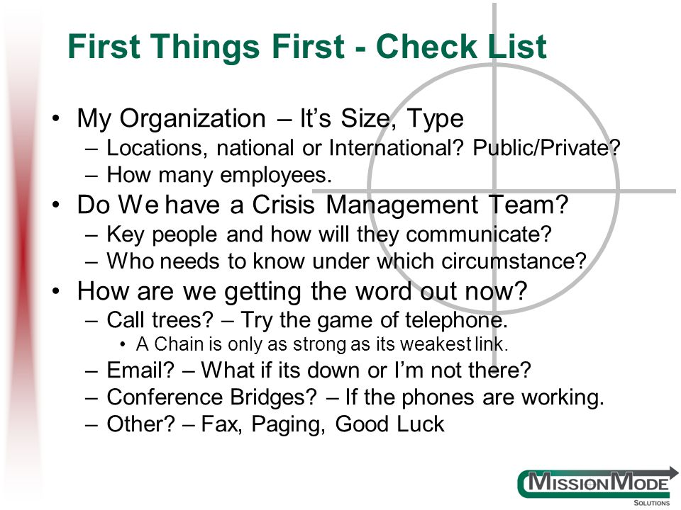 First Things First - Check List