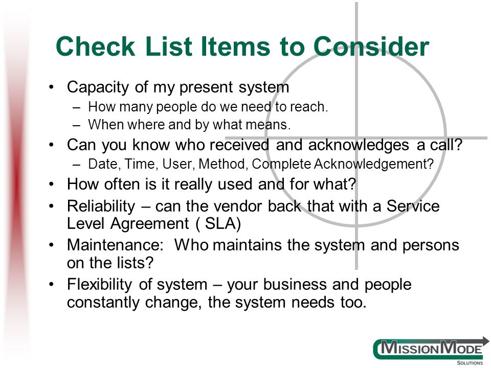 Check List Items to Consider