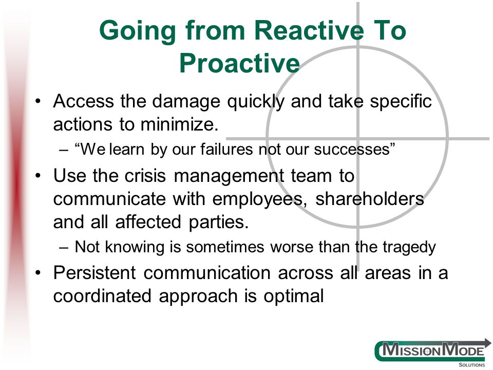 Going from Reactive To Proactive