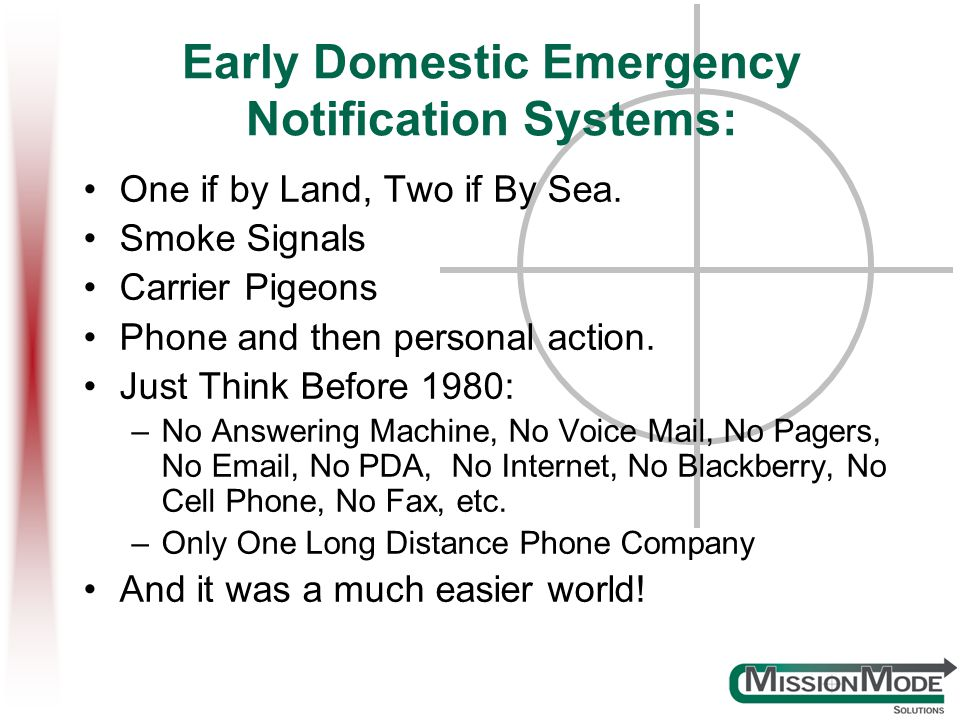 Early Domestic Emergency Notification Systems: