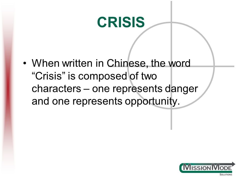 CRISIS When written in Chinese, the word Crisis is composed of two characters – one represents danger and one represents opportunity.