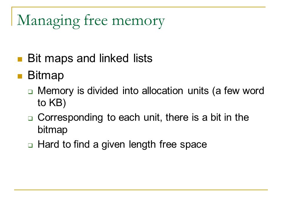 Managing free memory Bit maps and linked lists Bitmap