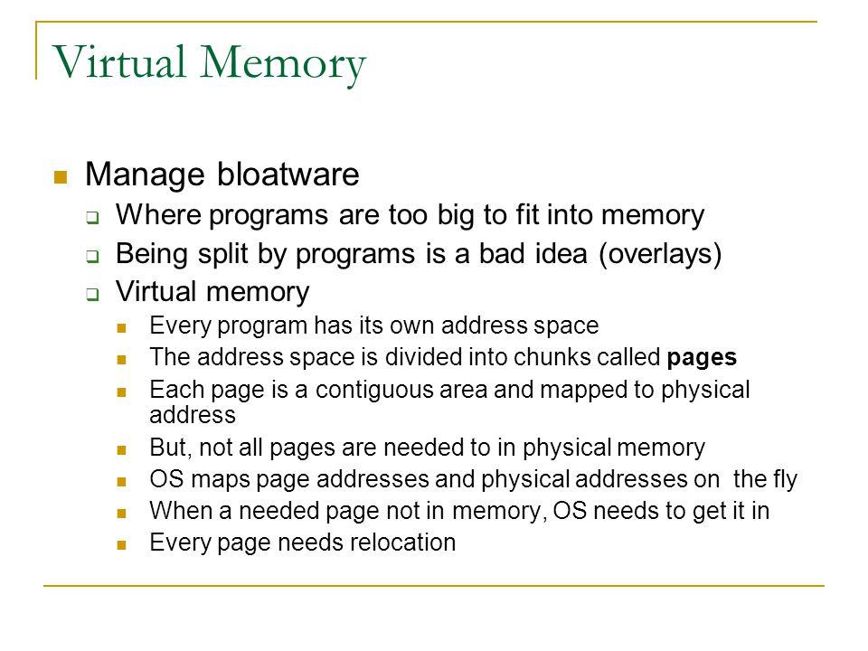 Virtual Memory Manage bloatware
