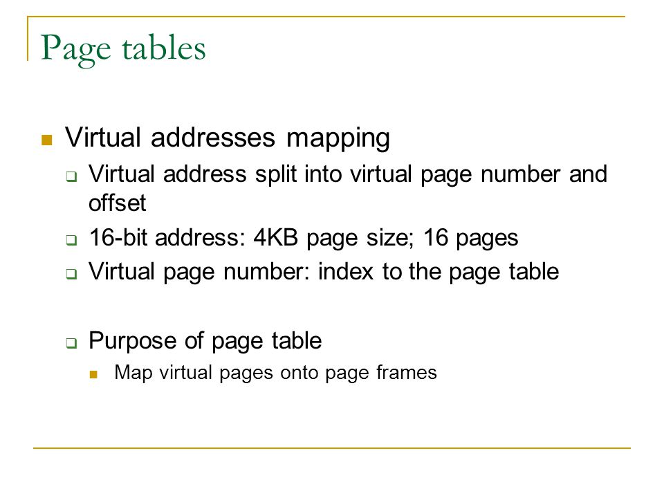 Page tables Virtual addresses mapping