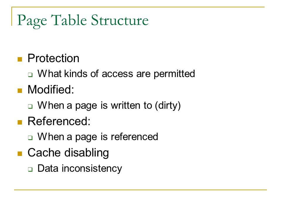 Page Table Structure Protection Modified: Referenced: Cache disabling