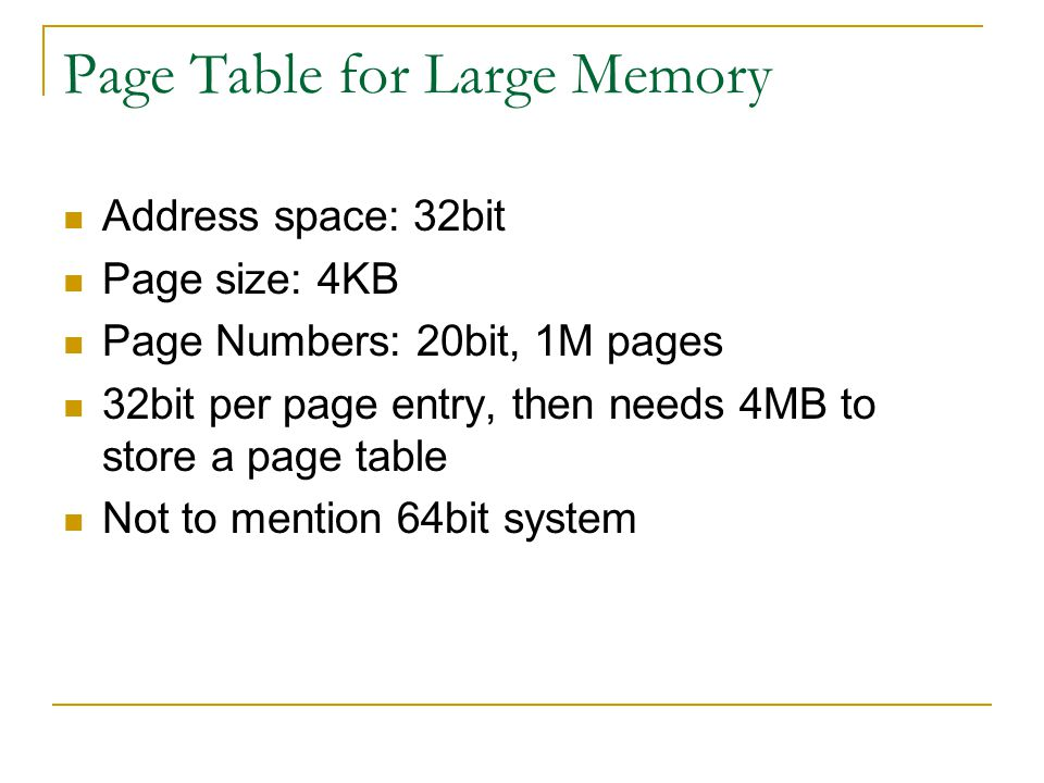 Page Table for Large Memory