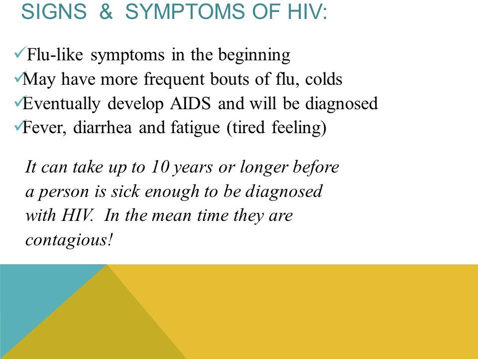 Signs & Symptoms of HIV: