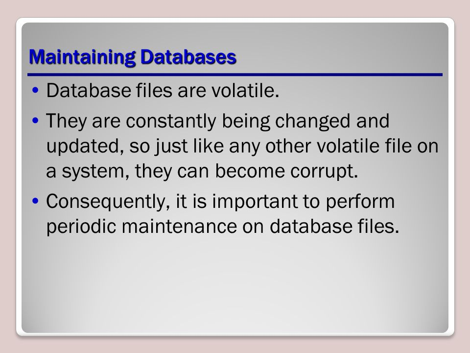 Maintaining Databases