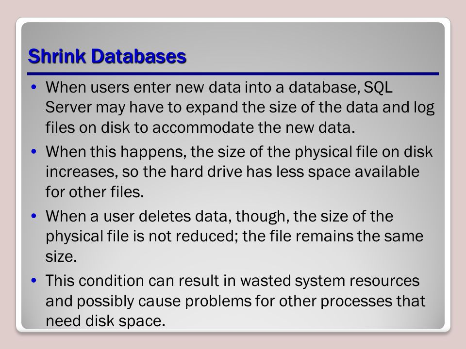Shrink Databases