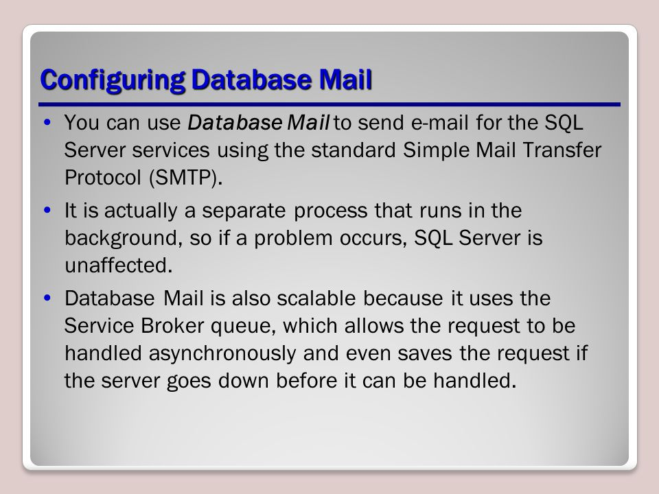 Configuring Database Mail