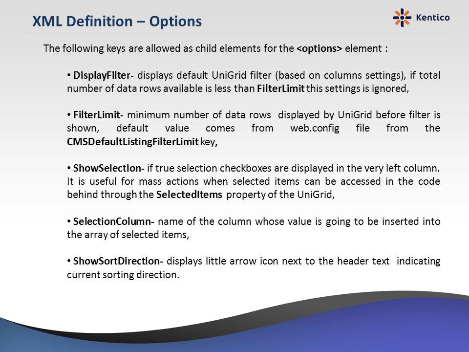 XML Definition – Options