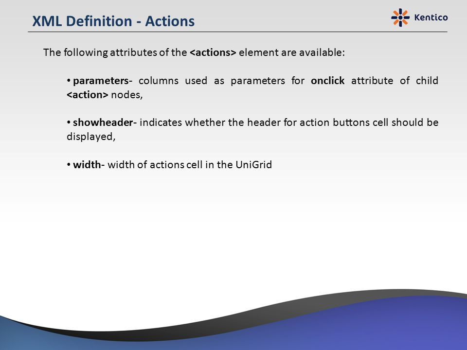 XML Definition - Actions