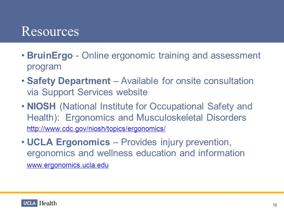 Resources BruinErgo - Online ergonomic training and assessment program