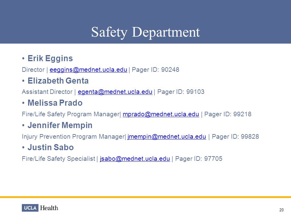 Safety Department Erik Eggins Elizabeth Genta Melissa Prado