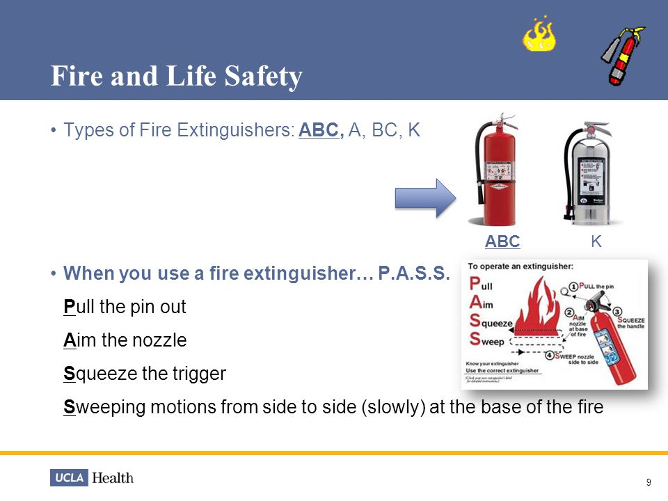 Fire and Life Safety Types of Fire Extinguishers: ABC, A, BC, K