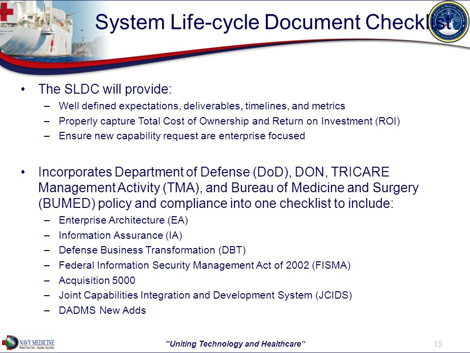 System Life-cycle Document Checklist