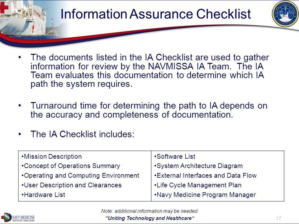 Information Assurance Checklist