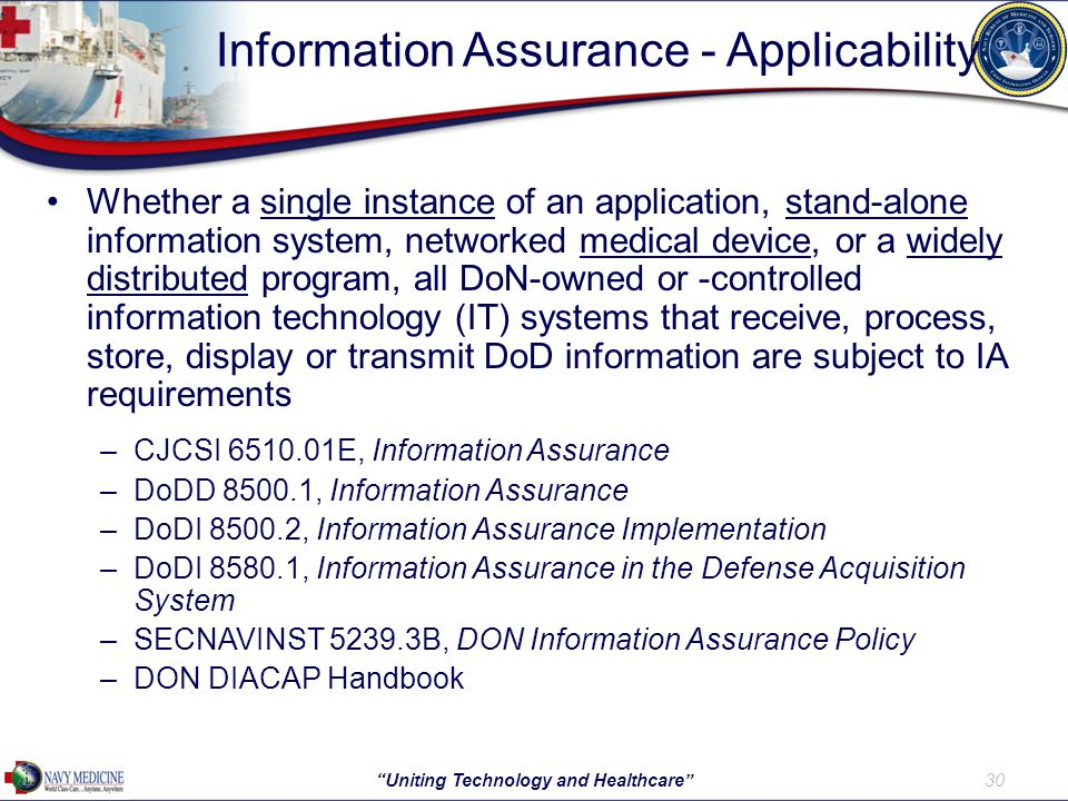 Information Assurance - Applicability