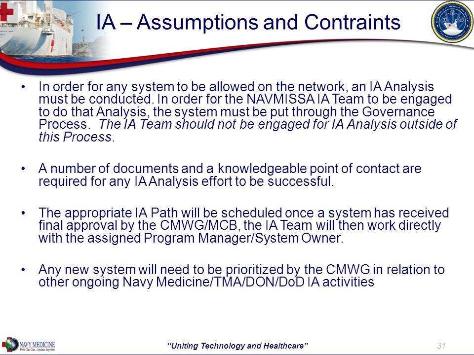 IA – Assumptions and Contraints