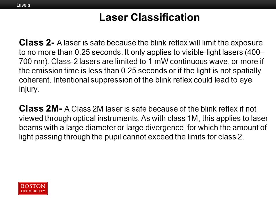 Lasers Laser Classification.