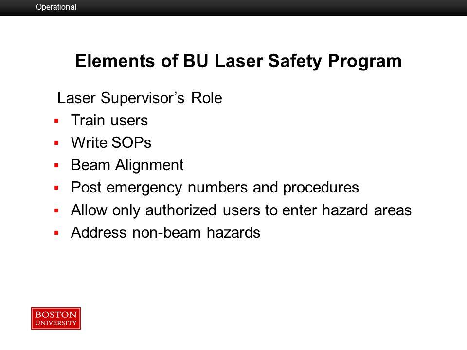 Elements of BU Laser Safety Program