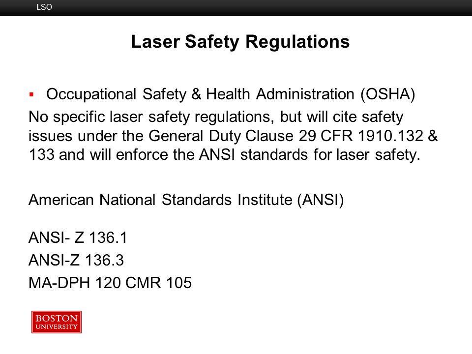 Laser Safety Regulations