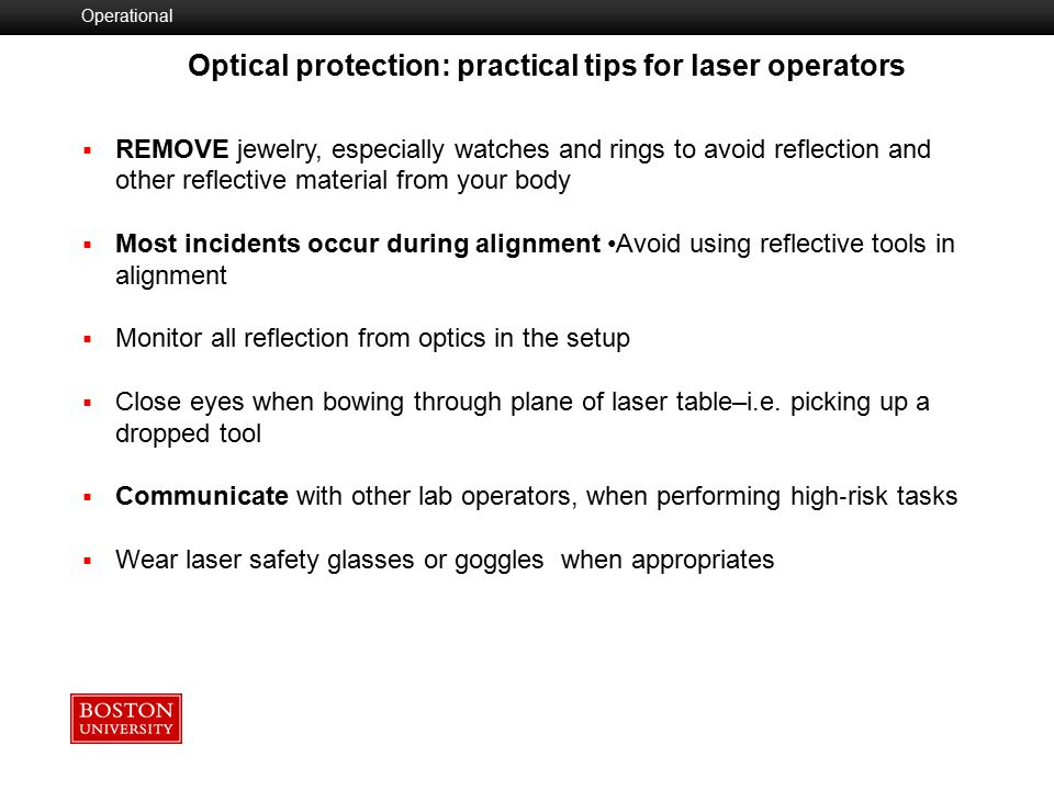 Optical protection: practical tips for laser operators
