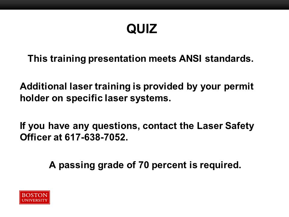 This training presentation meets ANSI standards.