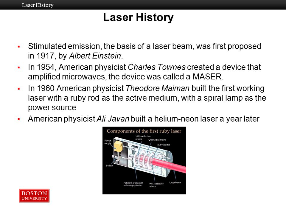Laser History Laser History. Stimulated emission, the basis of a laser beam, was first proposed in 1917, by Albert Einstein.
