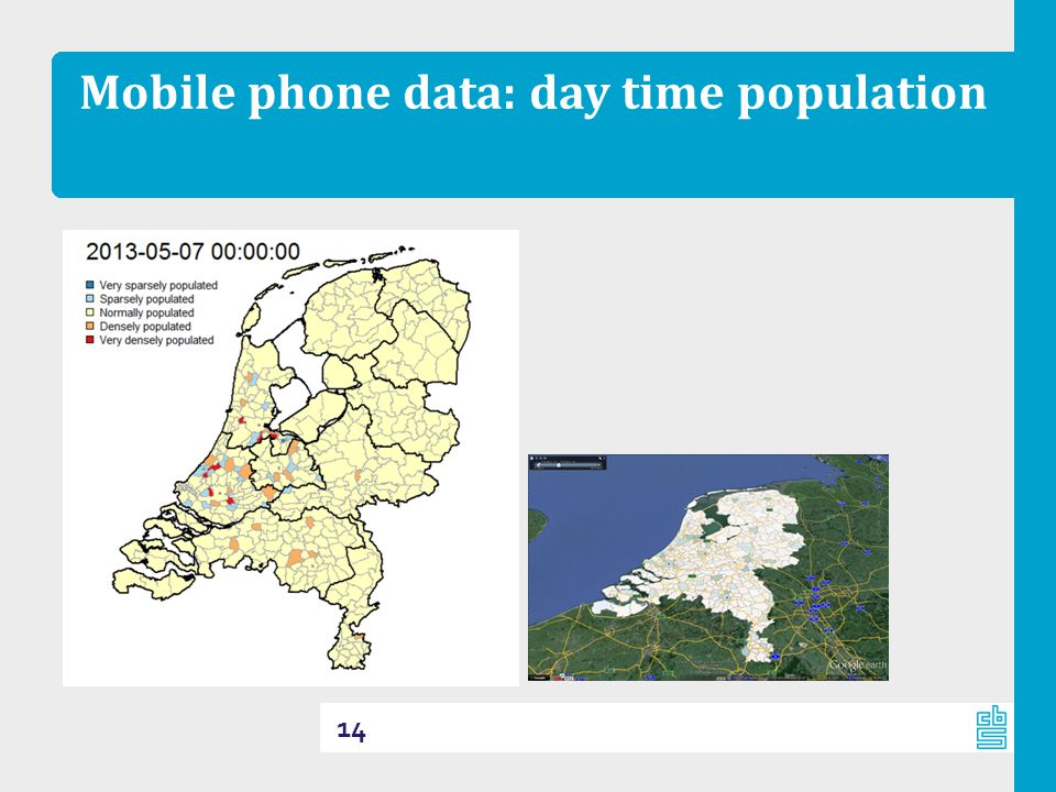 Mobile phone data: day time population