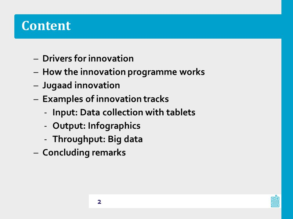 Content Drivers for innovation How the innovation programme works
