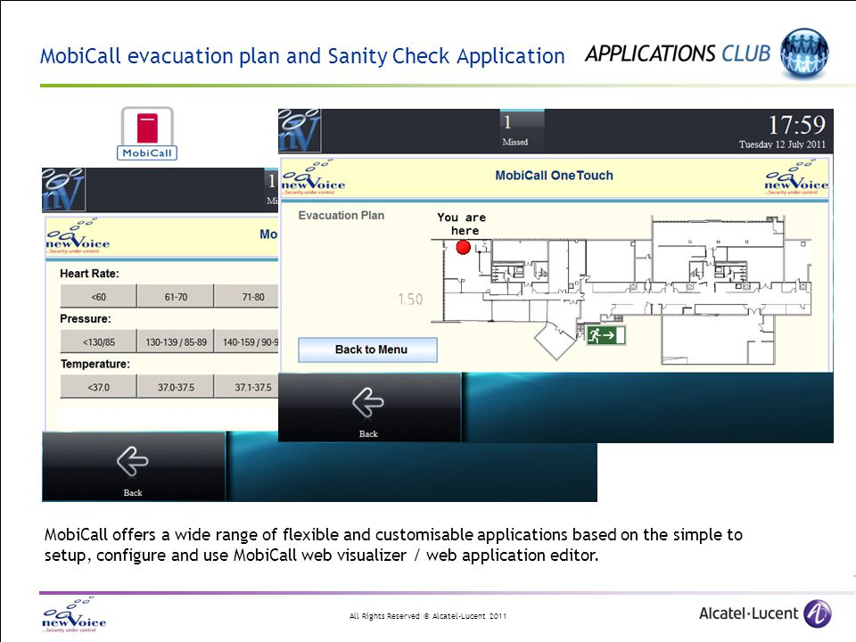 MobiCall evacuation plan and Sanity Check Application